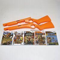 Cabelas Orange Rifle Shotgun Gun Attachment Nintendo Wii With 5 Games Lot Bundle