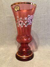 Czechoslovakia Bohemia Crystal Cranberry Art Glass Vase Gold Gilt Hand Painted.