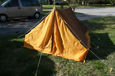 Vintage Camel Camping Tent 7'x7' Complete w/original poles, stakes - no holes