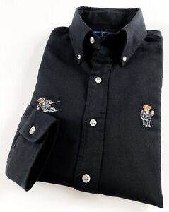 Ralph Lauren Men's Oxford Shirt Black Reg. Fit Allover Polo Bear RRP £129