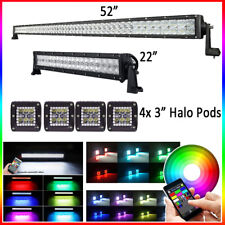 "52"" inch + 22"" 5D CREE LED Light Bar RGB Strobe + 4x 3"" RGB Halo Pods Bluetooth"