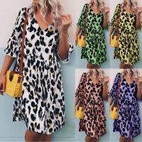S-5XL Womens A-Line Dress V-Neck Leopard Middle Sleeve Maxi Loose Shif Dress