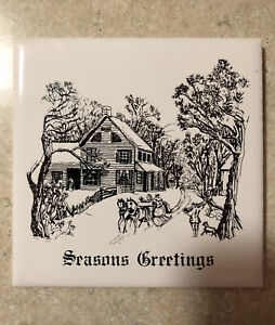 Vintage Seasons Greetings ceramic glazed tile 4 1/4 X 4 1/4 England cork back
