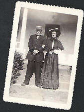 Vintage Antique Photograph Man & Woman Standing on Steps Wearing Cool Outfits
