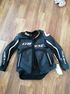 Dainese Misano D-Air Motorcycle Motorbike Leather Jacket Black / White
