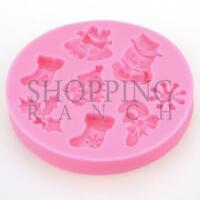 Christmas Tree Snowman Holly Snowflake Candy Silicone Mould Xmas Cupcake Topper