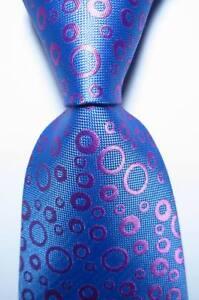 New Classic Polka Dot Light Blue Pink JACQUARD WOVEN Silk Men's Tie Necktie