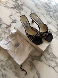 Emma Hope Zebra Print Black Suede Mule Heels Size 40 Great Condition
