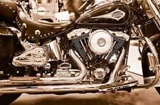 Leinwand Bild Harley Davidson Chrom Sepia Schwarz Weiss