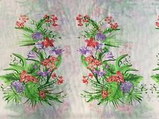 """Red tiger lily purple dahlia flower floral chiffon fabric on ivory, 59""""w, Bty"""
