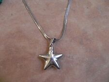 Sterling Silver Puffed Star Perfume decanter Pendant & Necklace Taxco Mexico