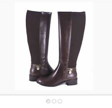 Michael Kors Hamilton Knee-High Brown Leather/Stretch Material Zip Boots 5.5 M