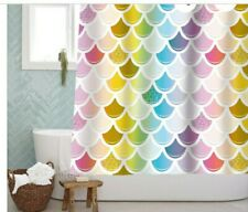 New listing Sunlit Designer Colorful Fish Scale Mermaid Tail Geometric Shower Curtain, Water