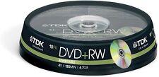 10 TDK DVD+RW 4.7 GB Video Data (4x) DVD Rewritable 120Min (10 Spindle)
