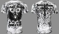 ARCHAIC by AFFLICTION Mens T-Shirt ACHILLES Cross Wings WHITE Biker UFC $40