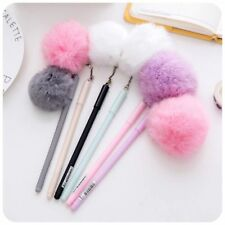 1PCS Portable Korea Style Plush Gel Ink Pens Ballpoint Fur Pom Pom Ball Gift