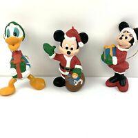 Vtg Disney Mickey Minnie Mouse Donald Duck Christmas ornaments Santa Clause