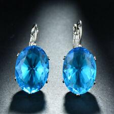 Gorgeous Jewelry Gift Ocean Blue Topaz Gems Silver Woman Dangle Hook Earrings