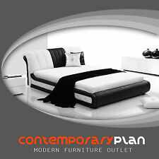 Contemporary Italian Design Contrasting Leather Platform Bed Modern Design