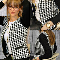 New Womens Ladies Stylish Houndstooth Casual Zip Up Suit Coat Jacket Blazer
