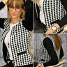 New Womens Ladies Stylish Houndstooth Casual Zip Up Suit Coat Jacket Blazer
