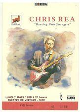 RARE / TICKET BILLET DE CONCERT - CHRIS REA : LIVE A NICE ( FRANCE ) 1988