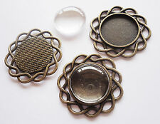 DIY Pendant Trays /Links and 20mm Glass Cabs - 5 Sets - Antique Bronze- 34mm