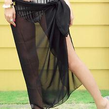 Fashion Ladies Black Chiffon Sexy Pareo Dress Wrap Beach Cover up Bikini Scarf