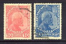 1912 Liechtenstein SC 2 & 3, Used Lot of 2, Prince Johann II*