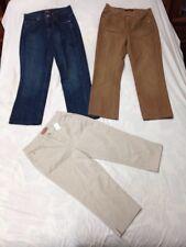 3 pc Sz 10 Lot Women's Casual Pants, 2 Lee Riveted Jeans, 1 Hannah Capri Jeans