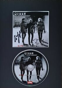Queen 'Live around the world', triple hand signed mounted cd sleeve and cd.