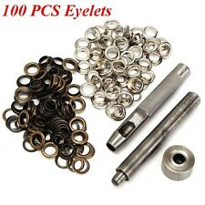 100 Silver Bronze 8mm Eyelets Hole Punch Tools Kit Leather Craft Belt Clothes