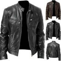 Mens Black & Brown Slim Fit Leather Jacket Vintage Biker Retro Warm Coat Genuine