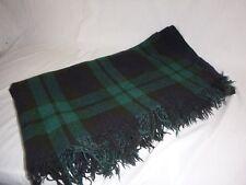 Vtg Blackwatch Plaid Wool Throw Camp Blanket Fringed 54 x 64 Green Blue No Tag