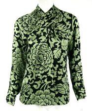 TEMPERLEY LONDON Black & Green Floral Silk Satin Wrap Neck Blouse UK10 6