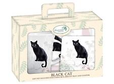Black Cat Teatime Gift Set Mug Coaster and Tray NEW in Cardboard  Gift Box