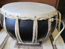 "Vintage Large 14"" Quality Hand Crafted Clay Drum"