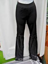 SIZE 12 BLACK LEGGINGS WITH LACE TRIM & FAUX LEATHER LEG DETAIL VGC