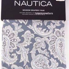 "Nautica Drapes 84"" window curtain panels panel set drapes blue paisley gray New"