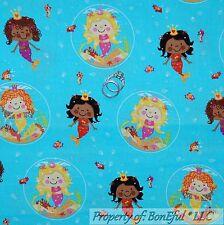 BonEful Fabric FQ Cotton Quilt Aqua Blue MERMAID Girl Sea Horse Fish Dot S Beach