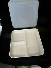 Vintage Almond #1659 Tupperware Ultra 21 Divided Tray / Plate with Lid