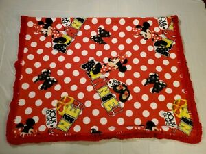 Red Fleece With White Polka Dots Minnie Mouse Girl Baby Blanket Crocheted Edge
