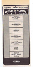 UK SUBS ZONES DOLL BY DOLL MUSIC MACHINE press clipping 1979 (16/6/79) 9X20cm