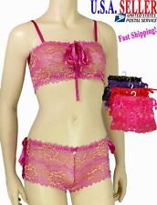 Womens Exotic Floral Lace Bra & Panty Set Sheer Mesh Sexy Lingerie Tube Top