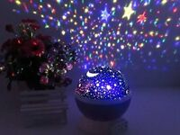 Night Light Baby Kids Salt Lamp LED Star Moon Projector Rotating Color Change TO