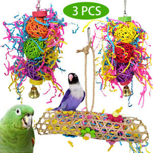 Parrot Bird Chew Toy Cage Hanging Strip Woven Grass Foraging Toys NEW 2020