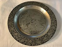 Vtg 1978 Wilton Armetale Pewter RWP - Christmas Plate - Victorian Old Town Scene
