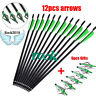 "12x Hunting Crossbow Archery16/20/22""Carbon Arrow+6x 125 Grains Broadheads Arrow"