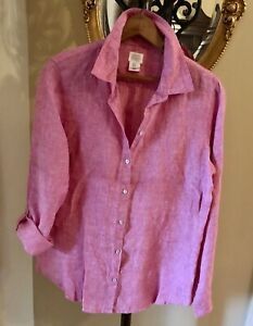 New! SIGRID OLSEN Rose Pink Linen Tab Sleeve Back Buttons Shirt Blouse NWOT M
