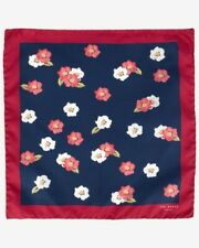 Ted Baker Mens BELLEP Floral Print Silk Pocket Square Handkerchief Red Navy BNWT